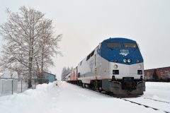 D41140PS Amtrak P42 12 on four car FO 261 PX at Whitefish, MT 1-28-18