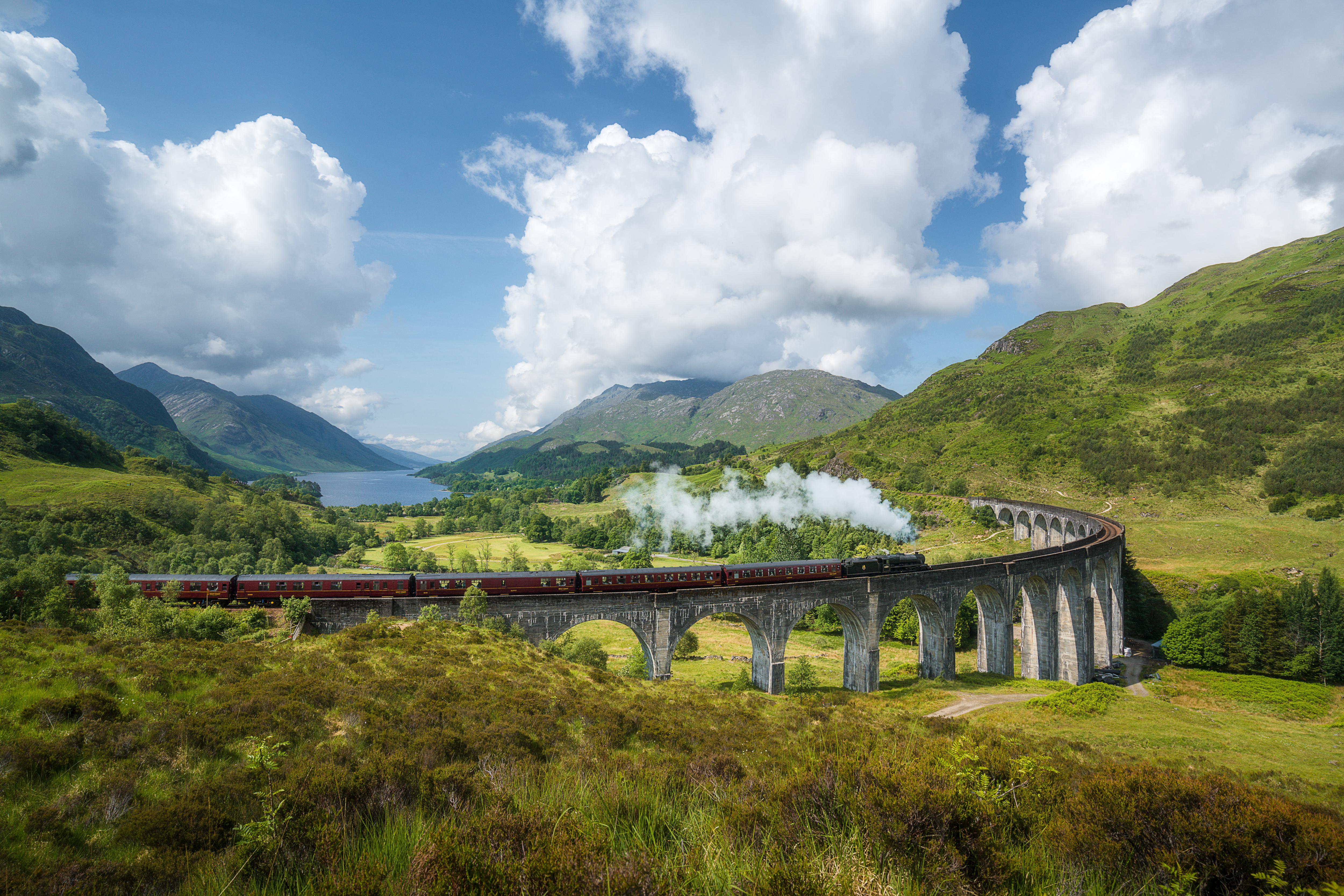 Jacobite steam train (a.k.a. Hogwarts Express) passes Glenfinnan